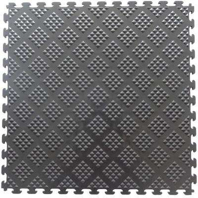 Multi-Purpose 18.3 in. x 18.3 in. Metallic Graphite PVC Garage Flooring Tile with Raised Diamond Pattern (6-Pieces)