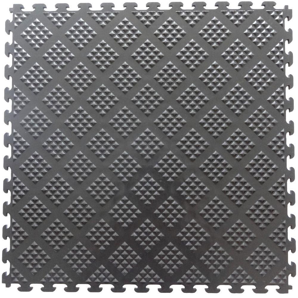 Norsk Multi-Purpose 18.3 in. x 18.3 in. Metallic Graphite PVC Garage Flooring Tile with Raised Diamond Pattern (6-Pieces)