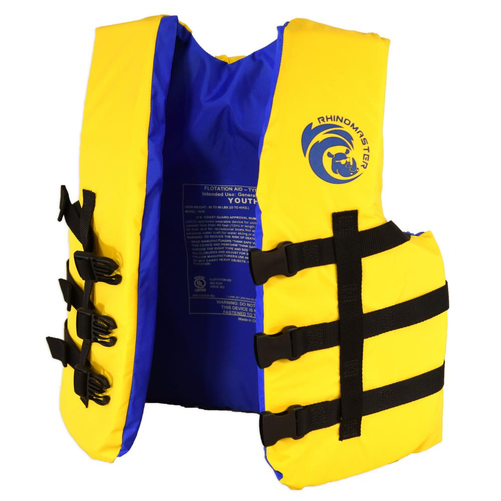 Youth Life Vest for Watersports (Yellow) - Kayaking, Jet Skiing, Tubing