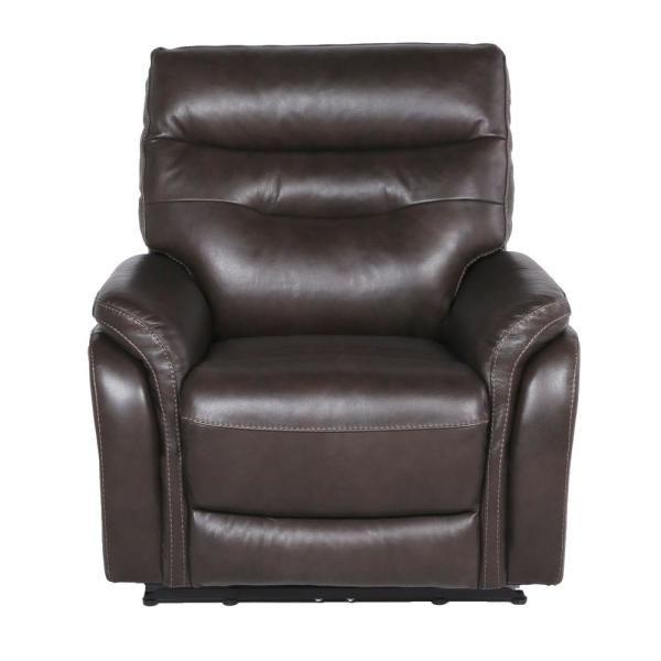 Fortuna 1-Seat Dark Brown Leather And Polyurethane Power Recliner Chair