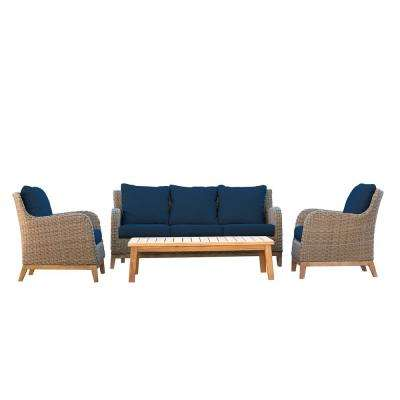 Indo 4-Piece Outdoor Teak and Wicker Outdoor Patio Conversation Set with Indigo Cushions
