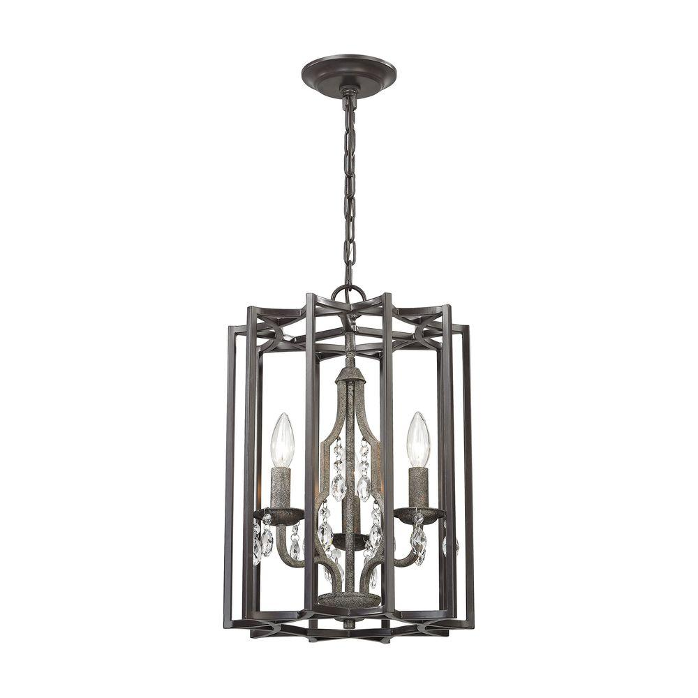 Belgique 3-Light Oil Rubbed Bronze and Malted Rust Chandelier