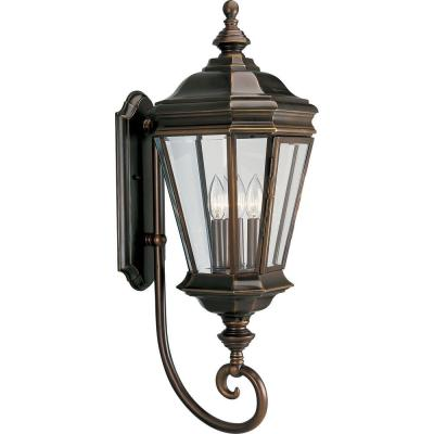 Crawford Collection 3-Light Oil-Rubbed Bronze 29 in. Outdoor Wall Lantern Sconce
