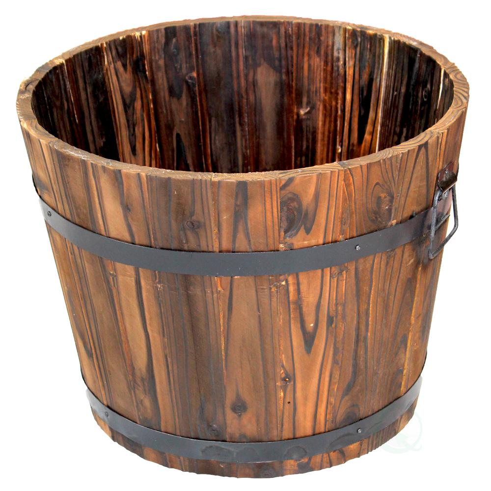 Large Wooden Barrel Planters: Vintiquewise 14 In. H X 17.5 In. Dia Extra Large Wooden