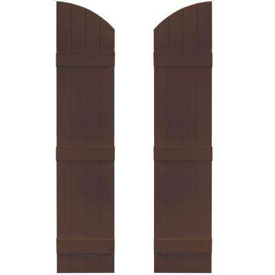 14 in. x 61 in. Board-N-Batten Shutters Pair, 4 Boards Joined with Arch Top #009 Federal Brown