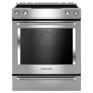 KitchenAid 30 inch 7.1 cu. ft. Slide-In Electric Range with Self-Cleaning Convection Oven in Stainless Steel by KitchenAid