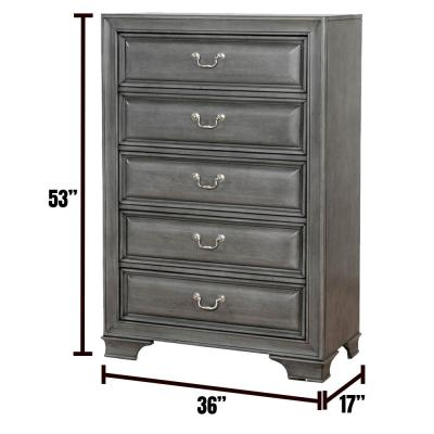 Brandt Gray Transitional Style Chest of Drawers