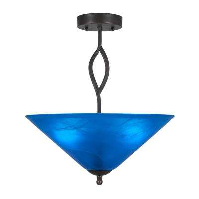 16 in. 3-Light Dark Granite Semi-Flush Mount with Blue Italian Glass