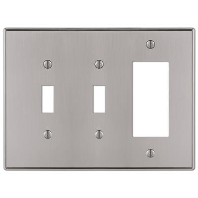 Ansley 3 Gang 2-Toggle and 1-Rocker Metal Wall Plate - Brushed Nickel