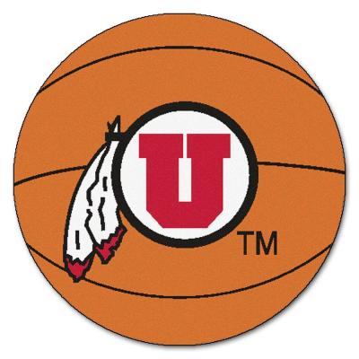 NCAA University of Utah Orange 2 ft. x 2 ft. Round Area Rug