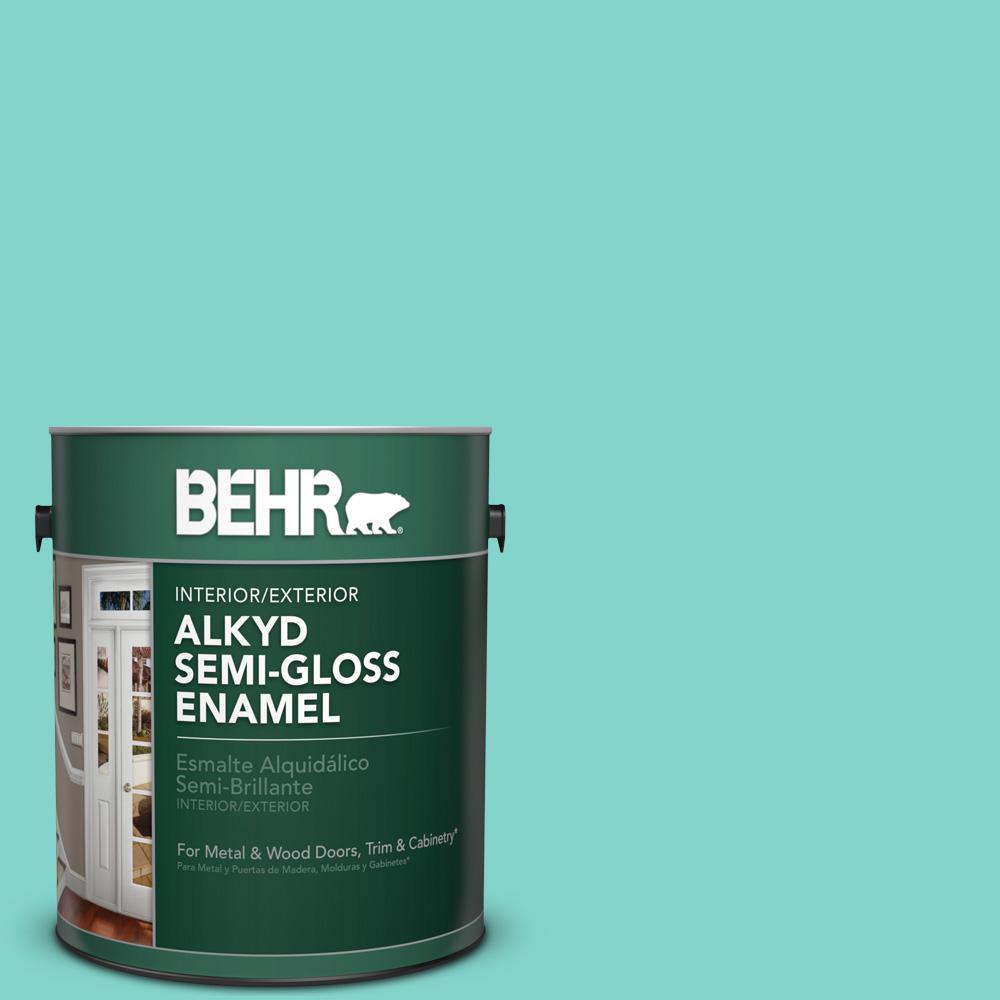1 gal. #HDC-MD-09 Island Oasis Semi-Gloss Enamel Alkyd Interior/Exterior Paint