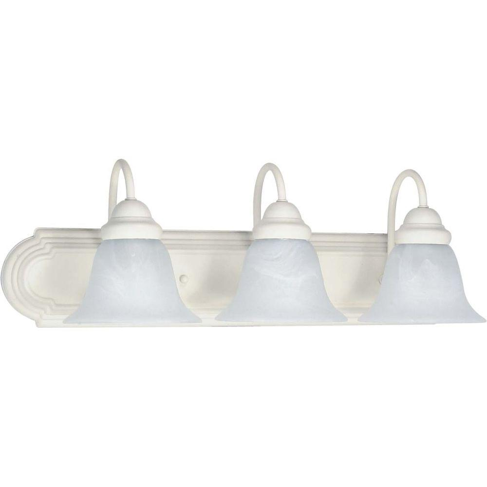 Glomar Sophrosyne 3-Light Textured White Bath Vanity Light with Alabaster Glass