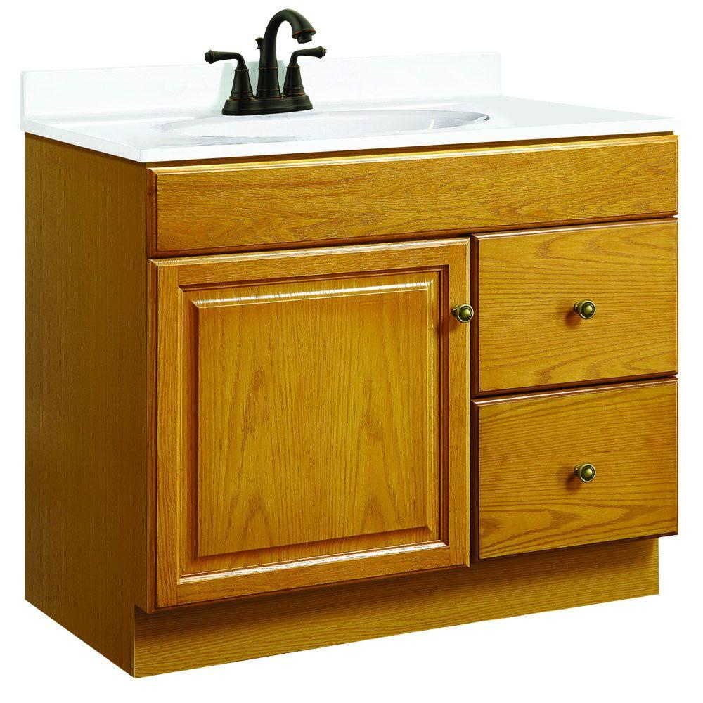 Design House Claremont 36 in. W x 18 in. D Unassembled Vanity Cabinet Only in Honey Oak