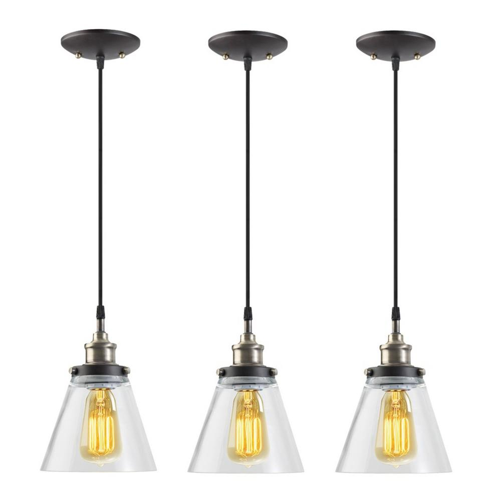 Globe Electric Jackson 1 Light Vintage Edison Antique Br Bronze And Black Hanging Pendant