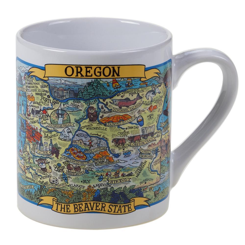 Oregon Souvenir 20 oz. Multicolored Stoneware Jumbo Mug (Set of 6)