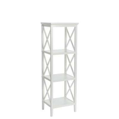 X-Frame 14 in. W Bathroom Towel Tower in White