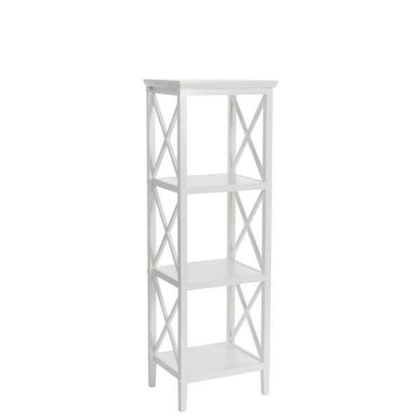 X-Frame 18.11 in. W Bathroom Towel Tower in White