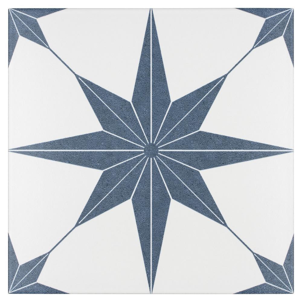 Merola Tile Stella Azul Encaustic 9-3/4 in. x 9-3/4 in. Porcelain Floor and Wall Tile (11.11 sq. ft. / case)