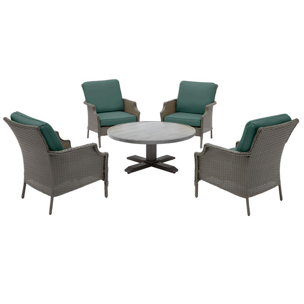 Grayson Ash Gray 5-Piece Wicker Outdoor Patio Conversation Seating Set with CushionGuard Charleston Blue-Green Cushions