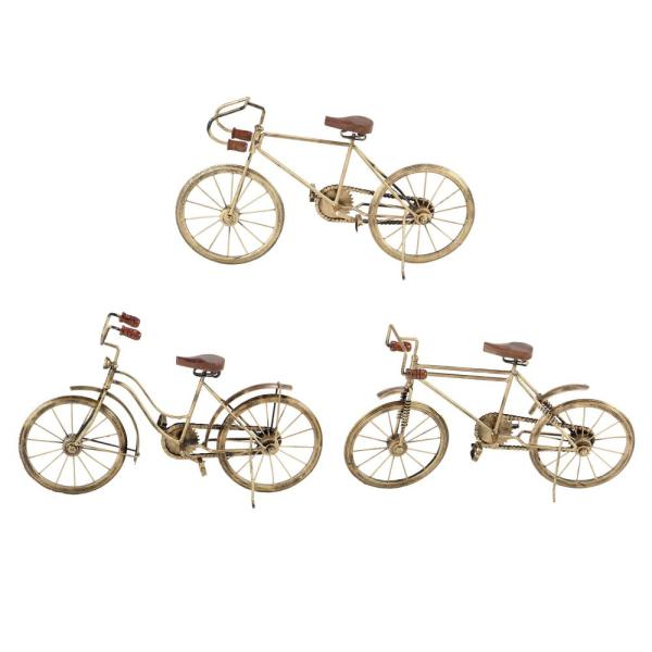 Eclectic 10 in. x 10 in. x 11 in. Wood and Metal Bicycle Sculptures (Set of 3)