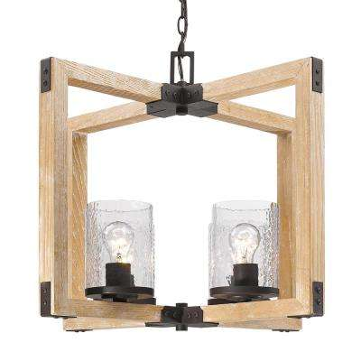 Eastwood 4-Light Rustic Bronze Chandelier with Clear Water Glass Shades