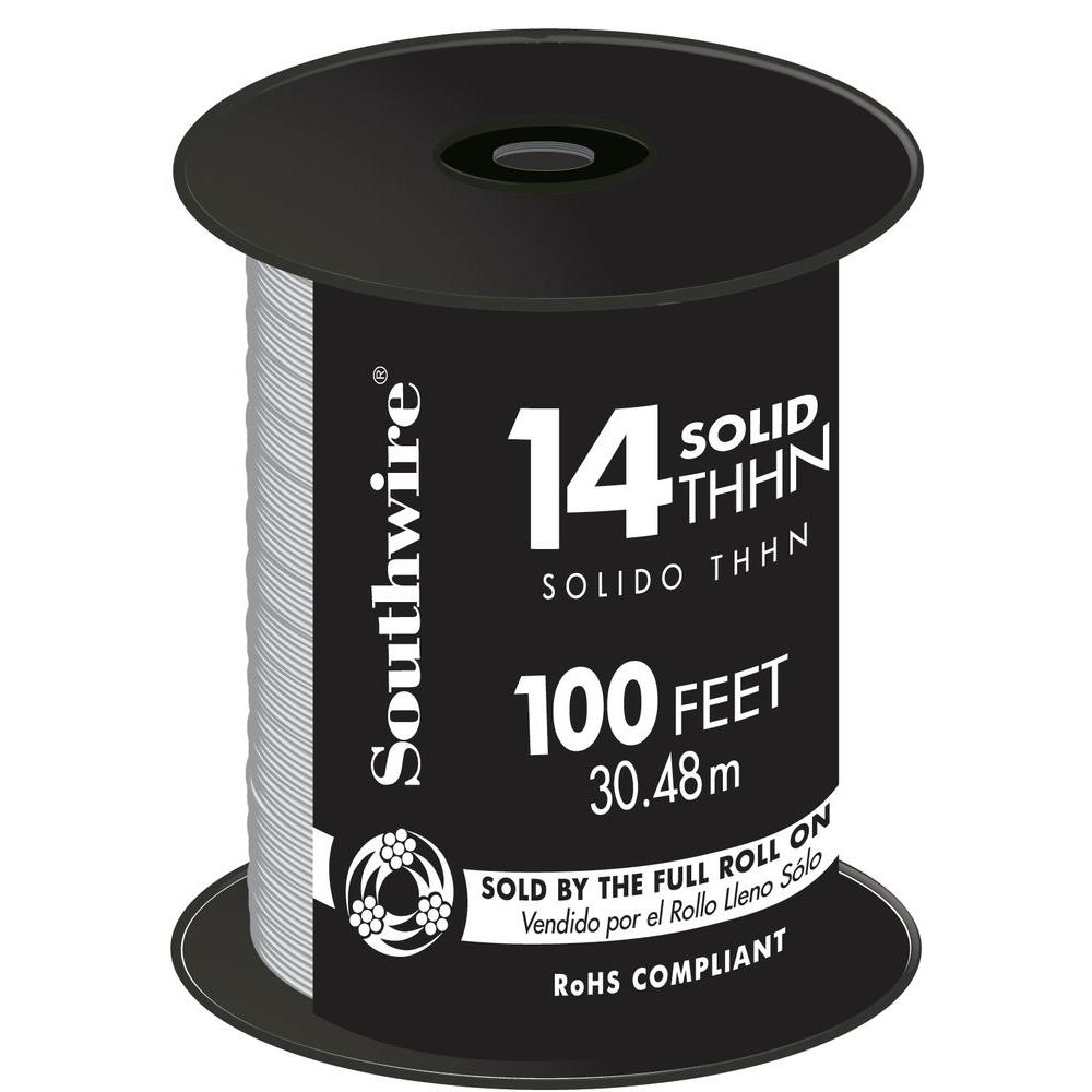 100 ft. 14-Gauge White Solid CU THHN Wire