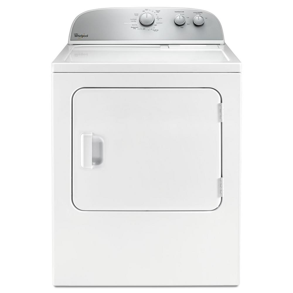 Whirlpool 5 9 Cu Ft 120 Volt White Gas Vented Dryer With Wrinkle Shield And Autodry Drying System Wgd4985ew The Home Depot
