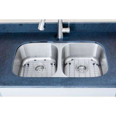 The Chefs Series Undermount Stainless Steel 32 in. 50/50 Double Bowl Kitchen Sink Package