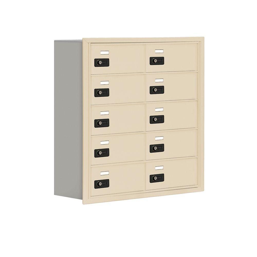 19000 Series 30.5 in. W x 31 in. H x 8.75 in. D 10 B Doors R-Mounted Resettable Locks Cell Phone Locker in Sand