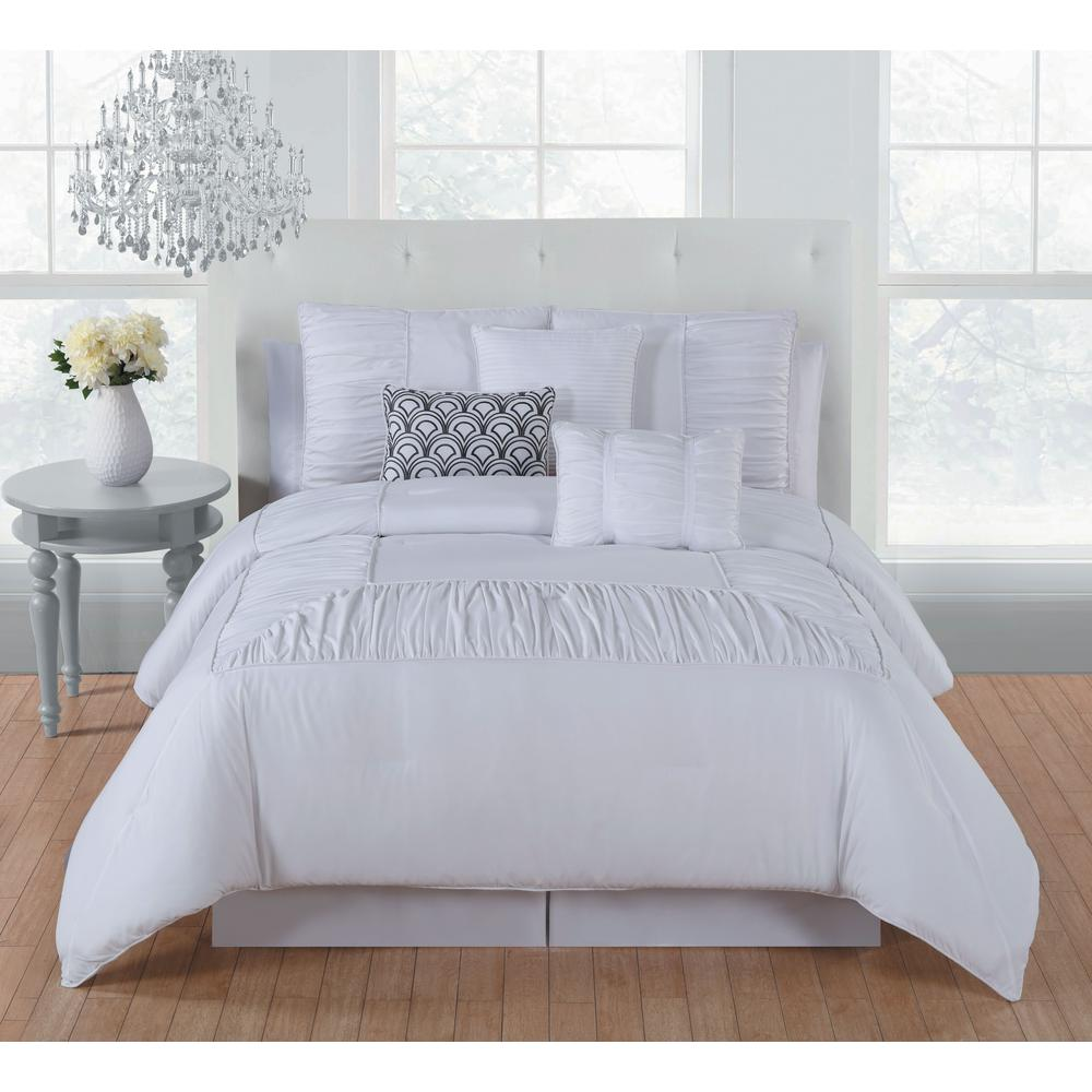 Jules 7-Piece Bright White King Comforter Set - 11-0601 TPX