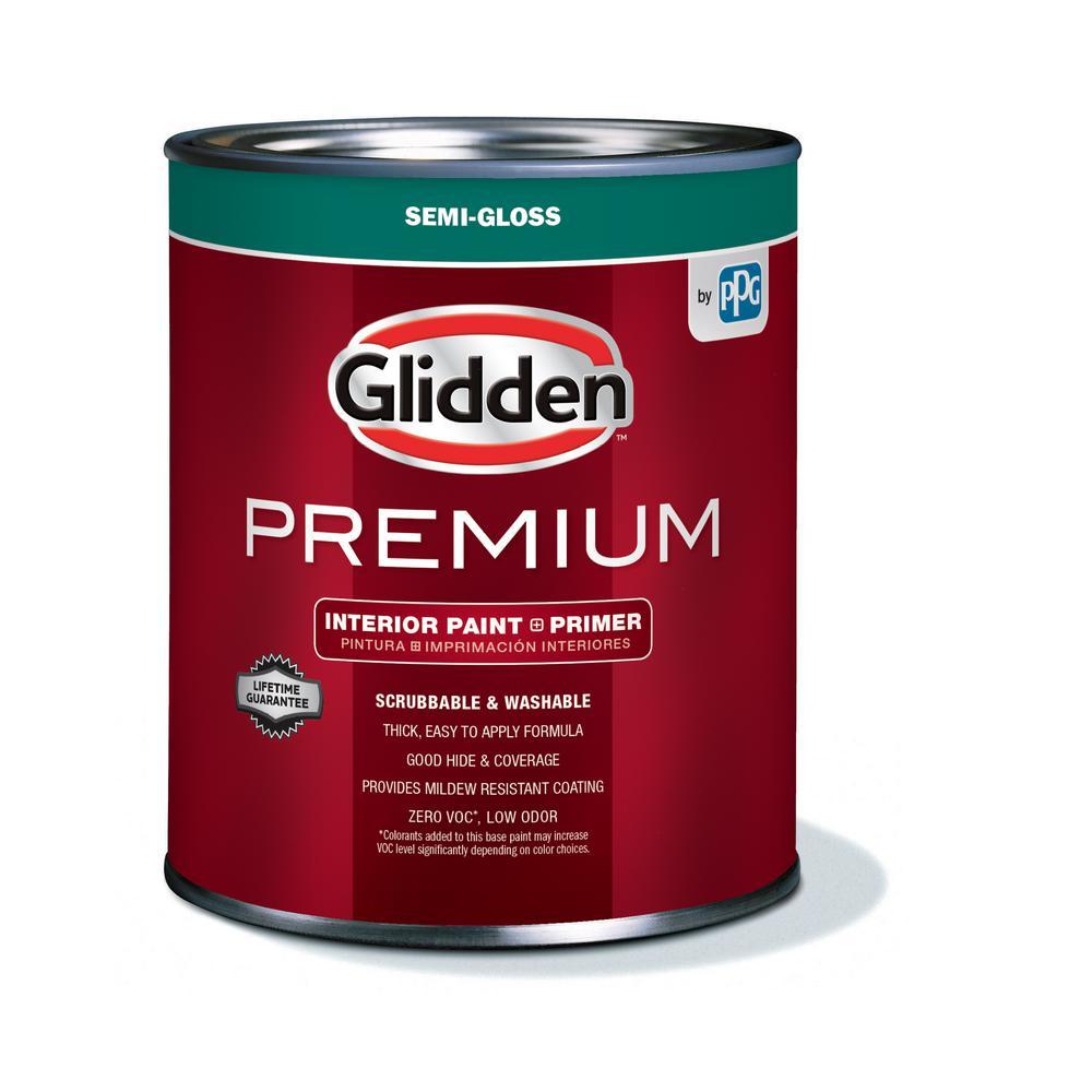 Glidden Premium 1 qt. Pure White Semi-Gloss Interior Paint