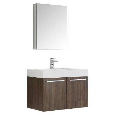 Vista 30 in. Vanity in Walnut with Acrylic Vanity Top in White with White Basin and Mirrored Medicine Cabinet