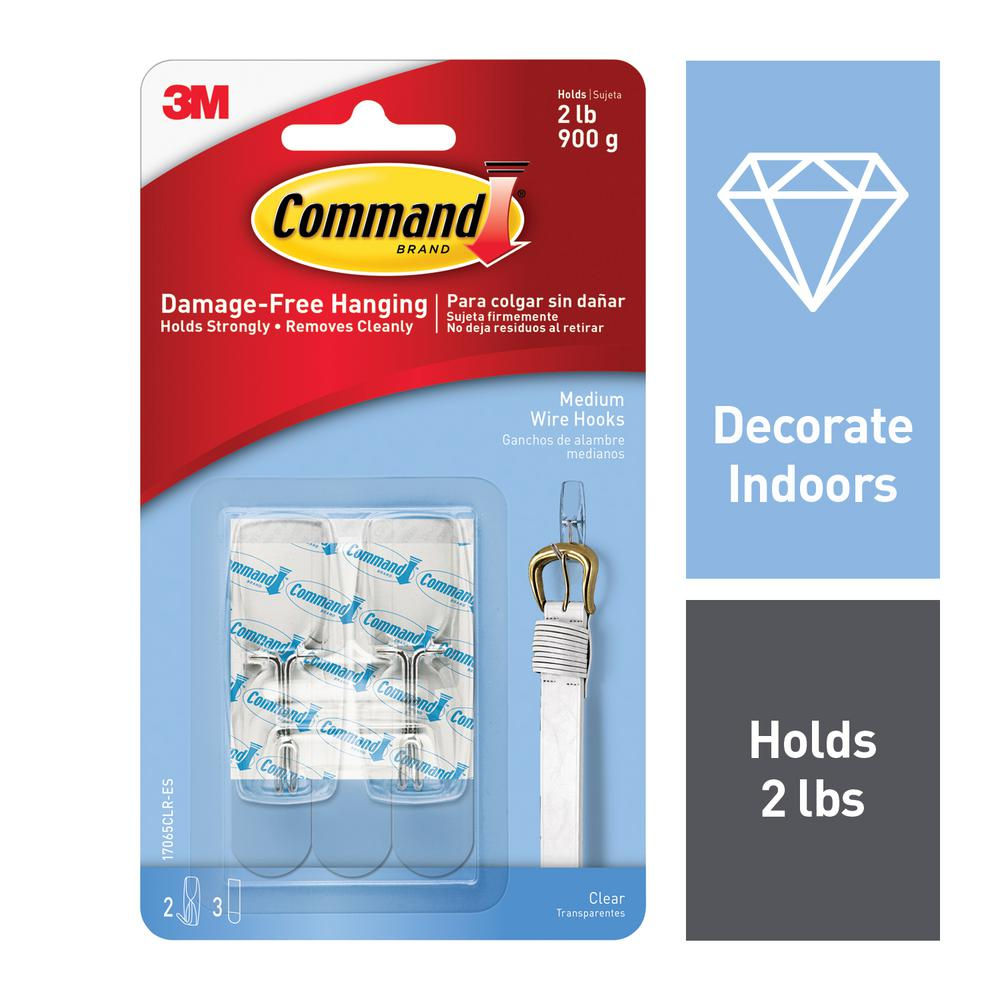 Command Medium Clear Wire Toggle Hook (2-Pack)