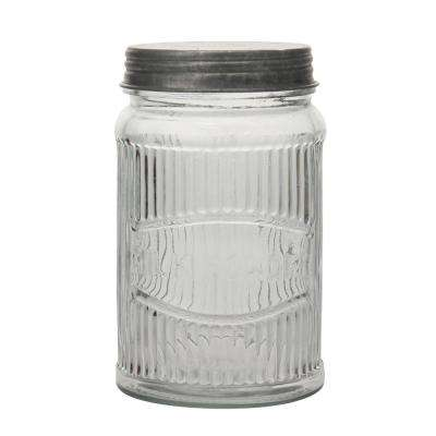 Clear Pressed Glass Milk Powder Jar with Galvanized Lid