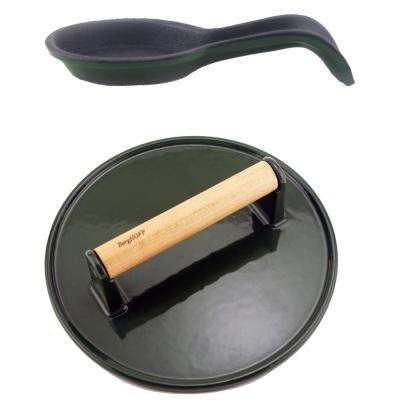 2-Pieces Cast Iron BBQ Accessory Set in Green