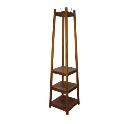 Brown 8-Hook Coat Rack