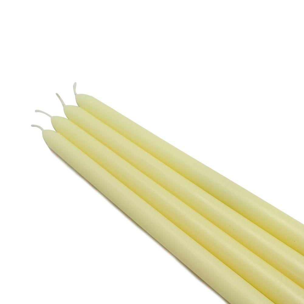 12 in. Ivory Taper Candles (12-Set), Beige / Ivory