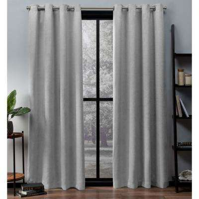 Oxford 52 in. W x 84 in. L Woven Blackout Grommet Top Curtain Panel in Silver (2 Panels)