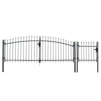 Athens Style 11 ft. x 5 ft. Black Steel DIY Dual Swing Driveway Fence Gate with 3 ft. x 5 ft. Pedestrian Gate
