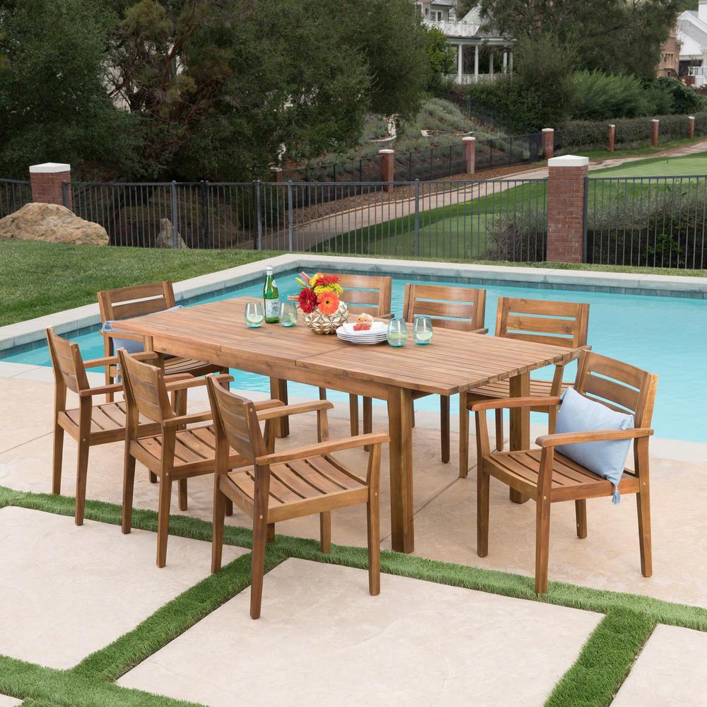 Teak Brown 9-Piece Wood Rectangular Outdoor Dining Set