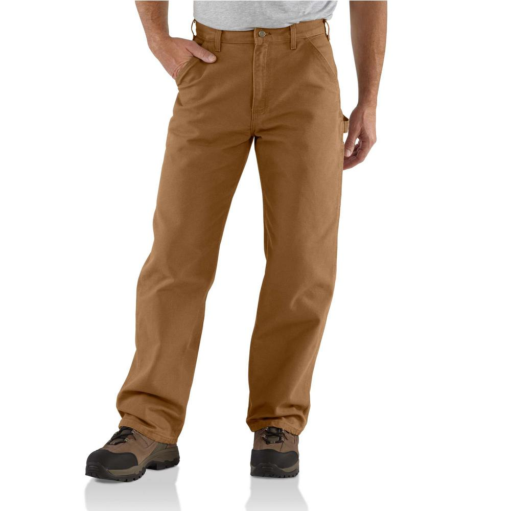 Men's 31 in. x 34 in. Brown Cotton Washed Duck Work