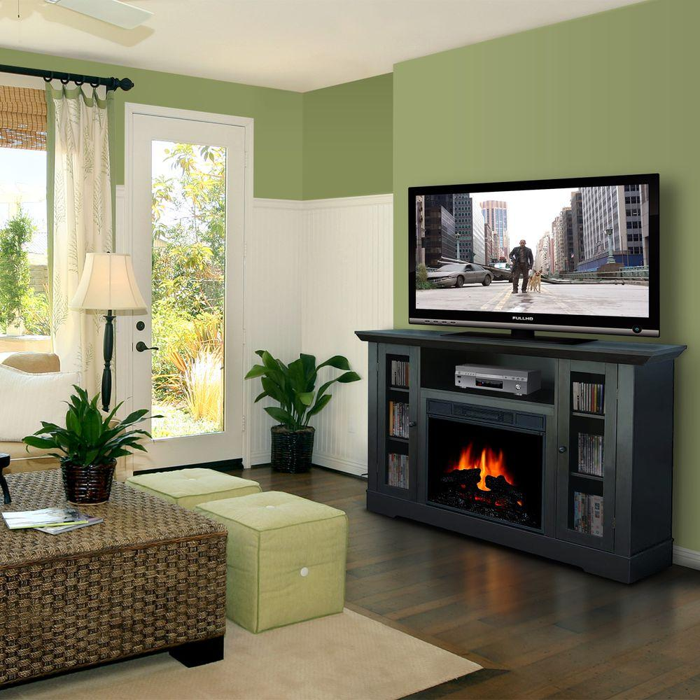 Quality Craft 55 in. Media Console Electric Fireplace in Espresso with Mantel-DISCONTINUED