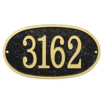 Fast And Easy Oval House Number Plaque Black Gold