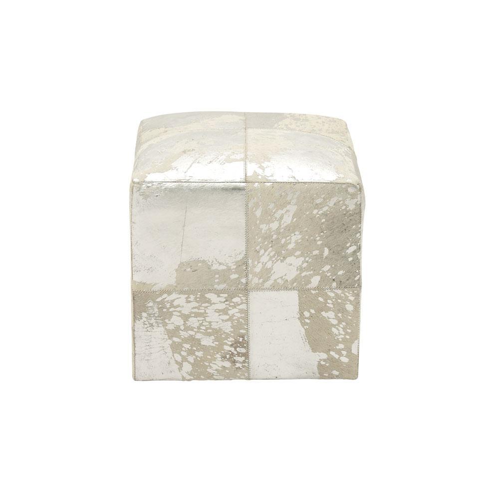 Rustic Silver and White Square Ottoman