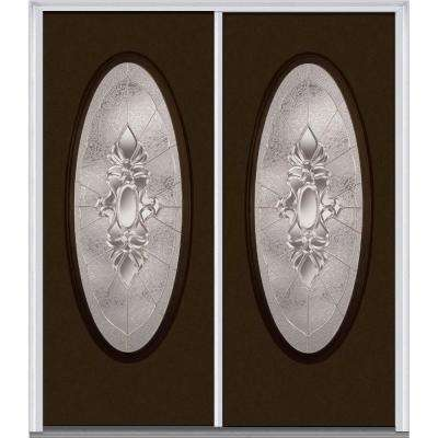 64 in. x 80 in. Heirlooms Right-Hand Inswing Oval Lite Decorative Painted Fiberglass Smooth Prehung Front Door