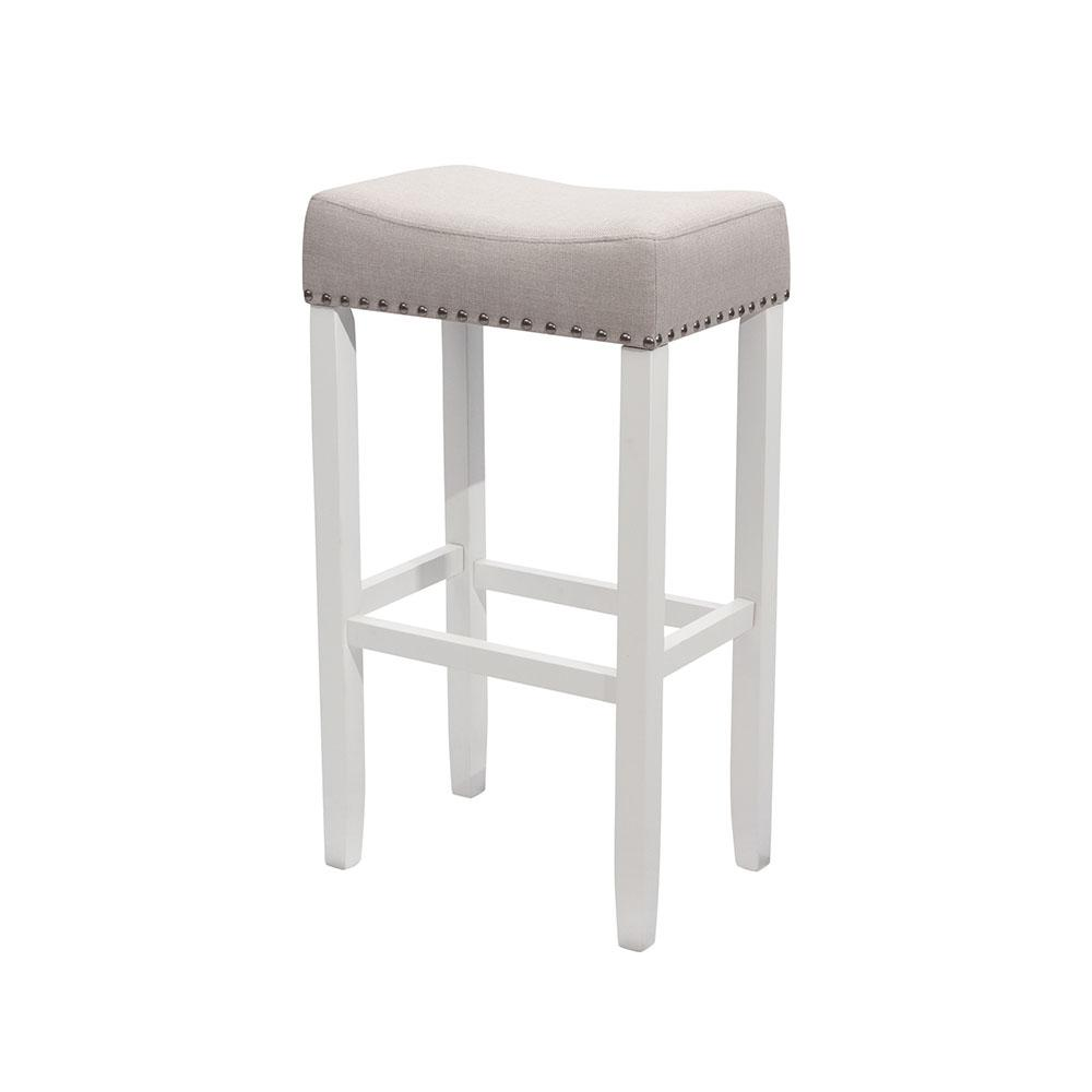 Nathan James Hylie Nailhead 29 In White And Gray Cushioned Bar Stool