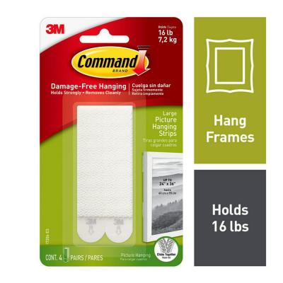 4 lbs. Large White Plastic Picture Hanging Strips (4-Strips)