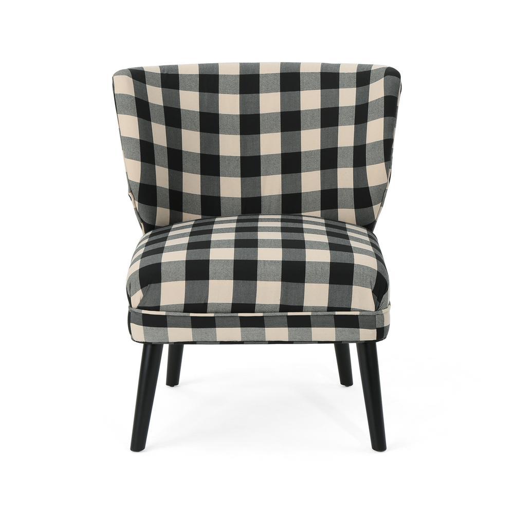Laurier Modern Farmhouse Black Checkerboard Fabric Accent Chair