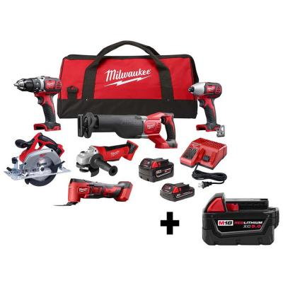 M18 18-Volt Lithium-Ion Cordless Combo Kit (6-Tool) with (2) Batteries, Charger and Tool Bag W/ Free 5.0Ah Battery