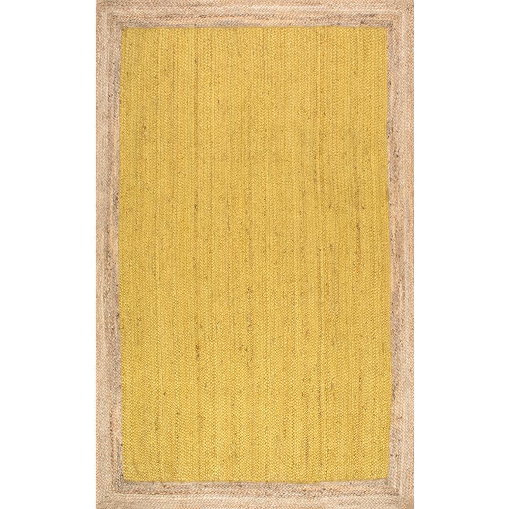 Elanora Farmhouse Bordered Jute Yellow 6 ft. x 9 ft. Area Rug